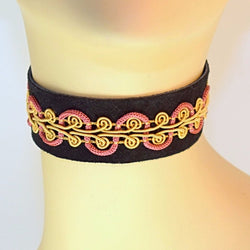 Black Leather Choker with Pink and Gold Brocade Trim