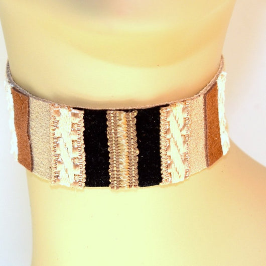 Tan Suede Choker with Black, White and Natural trim