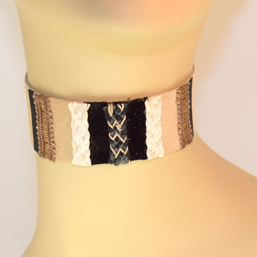 Tan Suede Choker with Black, White and Natural and Braid Trim