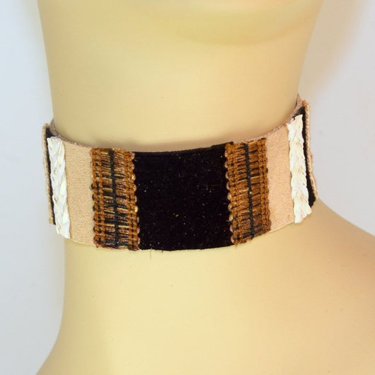 Tan Suede Choker with Black, White Trim