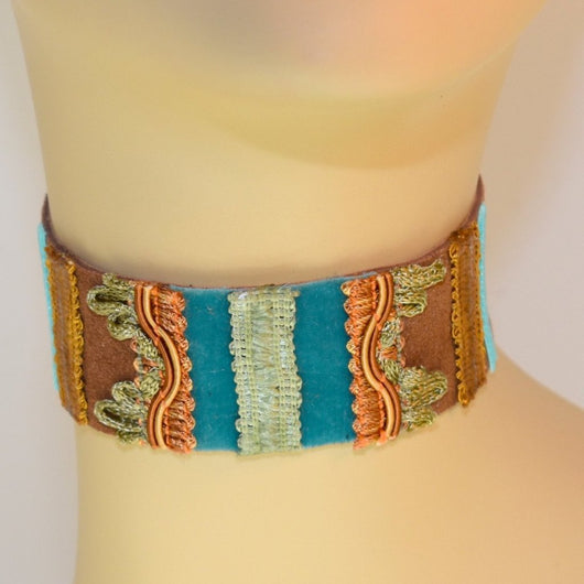 Brown and Blue Suede Choker with Green