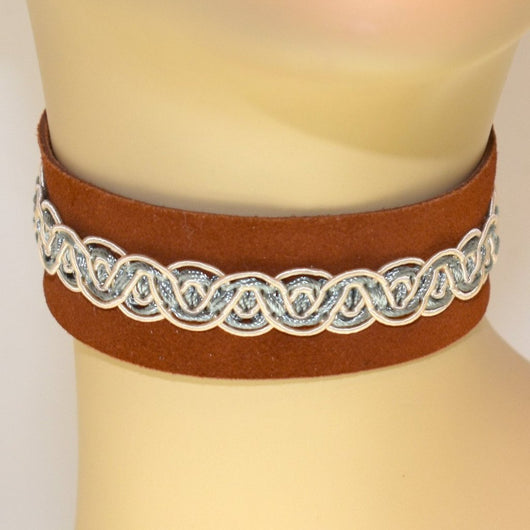 Light Brown Suede Choker with Blue and Cream Trim