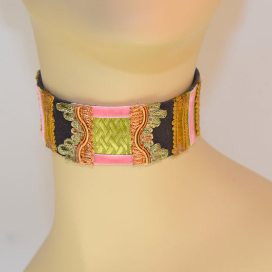 Black, Green and Pink Suede Choker