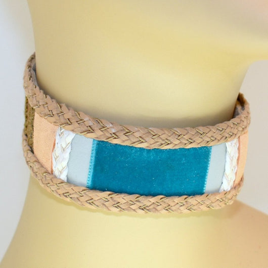 Tan Suede Choker with Blue, White and Natural and Braid Trim