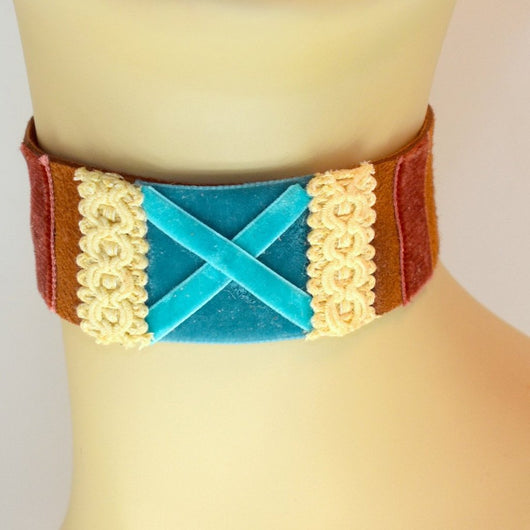 Brown Suede X Choker with Blue and Cream and Brown Velvet