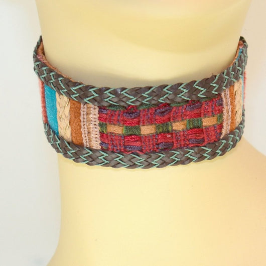 Brown, Red, Blue Suede Choker with Braid Trim