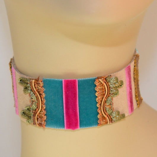 Tan, Blue and Pink Suede Choker