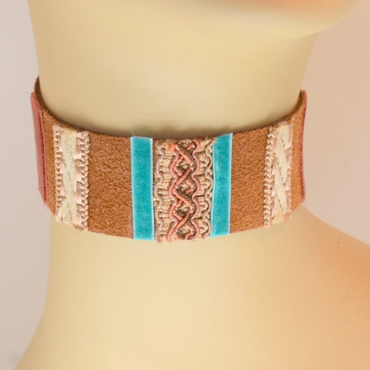 Light Brown Suede Choker with Blue and Natural