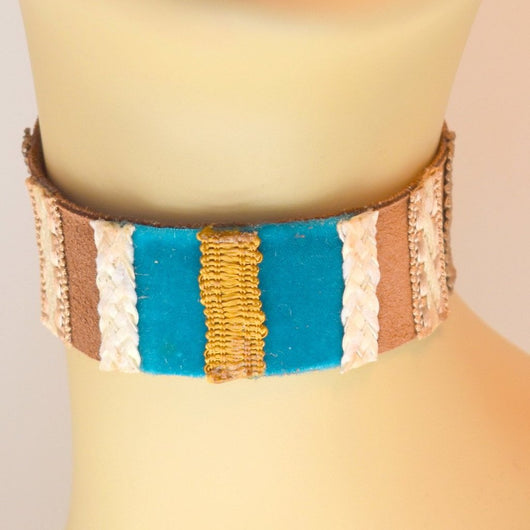 Chocolate Brown, Blue, White and Gold Suede Choker