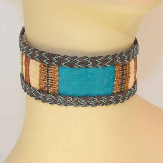 Tan, Blue, Brown Suede Choker with Braid Trim