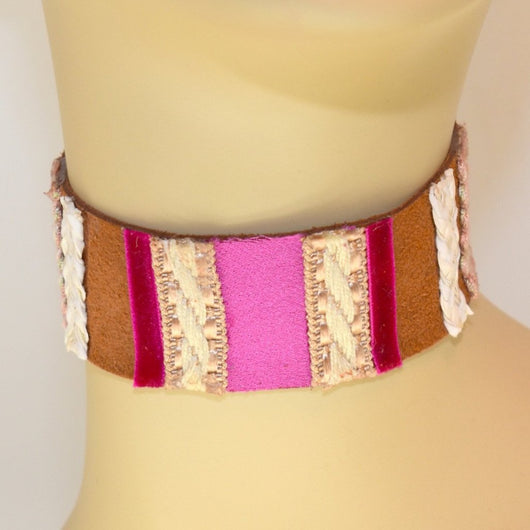 Light Brown, Pink, White and Natural Suede Choker