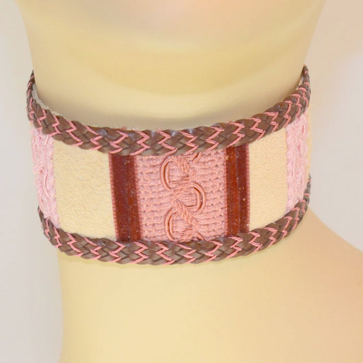 Extra Thick Tan, Blush, Pink Suede Choker with Braid Trim