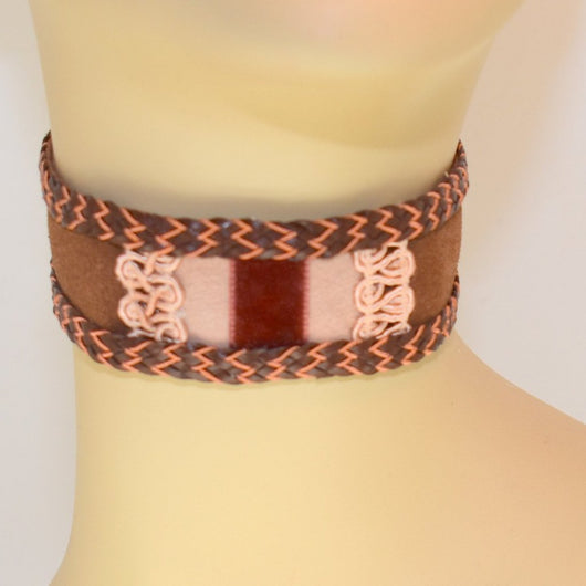 Chocolate Brown, Pink Suede Choker with Braid Trim