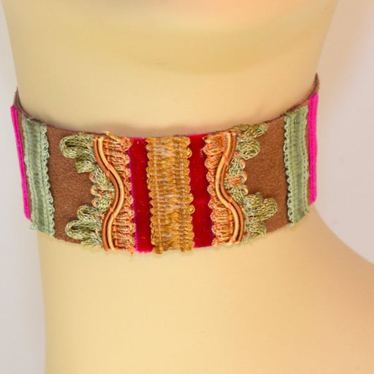 Brown, Green and Pink Suede Choker