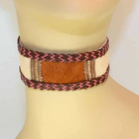 Tan and Brown Suede Choker with Braid Trim