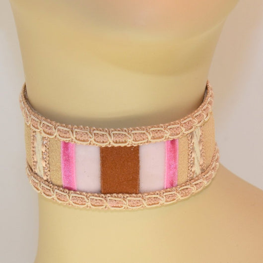 Tan, Pink, White, Brown Suede Choker with Braid Trim