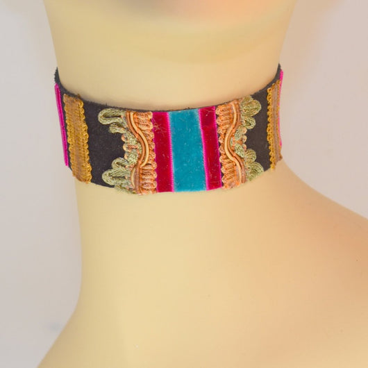 Black, Blue and Pink Suede Choker