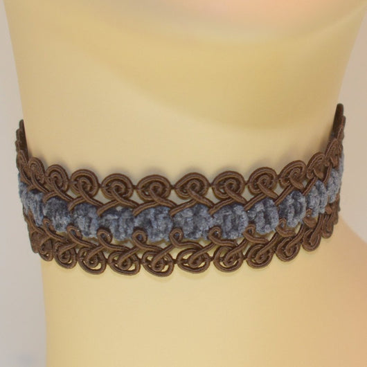 Brown and Blue Braided Woven Choker