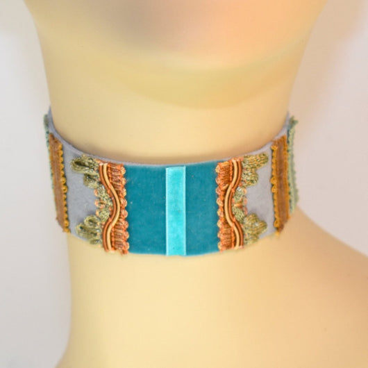 Gray, Blue and Green Suede Choker
