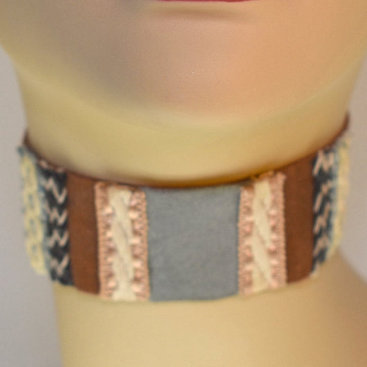 Brown, Gray, Black and Cream Suede Choker