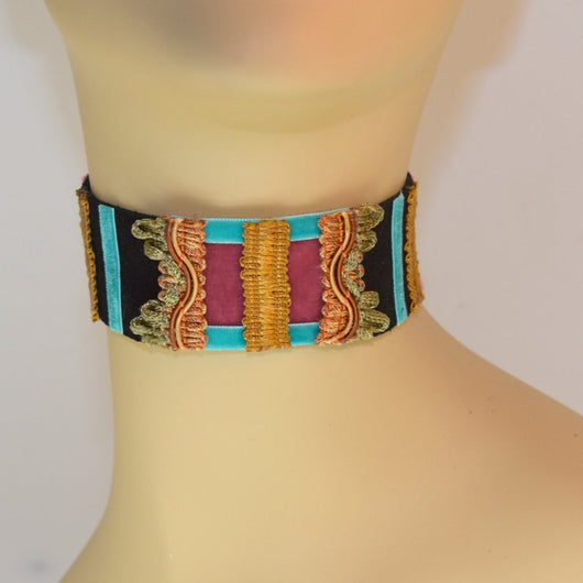 Black, Pink and Blue Suede Choker