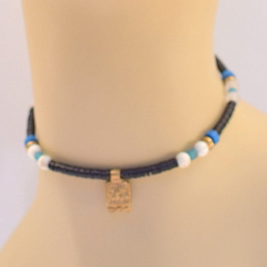 Black, White, and Blue Beaded Choker with Gold Pendant106