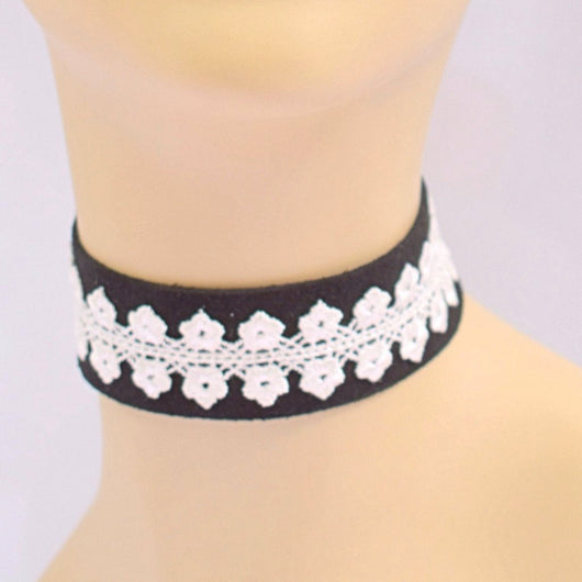 Black Suede Choker with White Lace