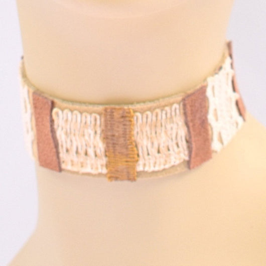 Brown and Cream Suede and Leather Choker