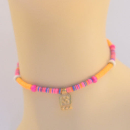 Pink and Orange Beaded Choker with Brass Pendant