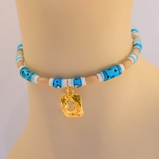 Blue and Tan Beaded Choker with Hammered Gold Pendant203