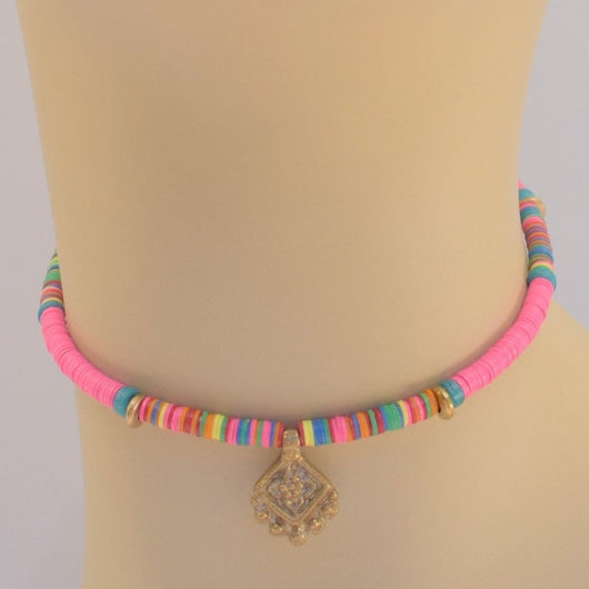 Pink Multi-color Beaded Choker with Brass Pendant