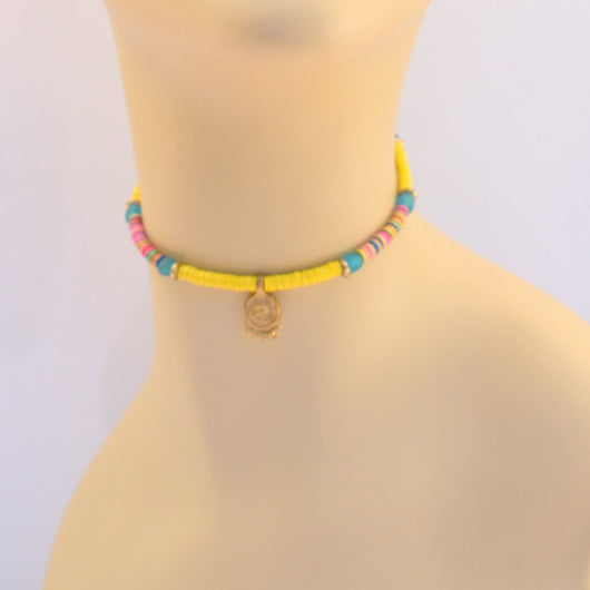 Yellow, Blue, and Pink Beaded Choker with Pendant