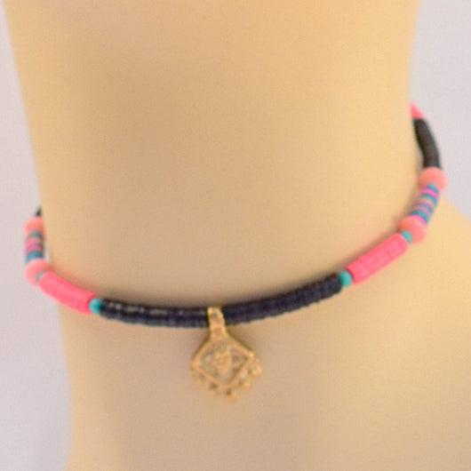 Black, Pink, and Teal Beaded Choker with Pendant104