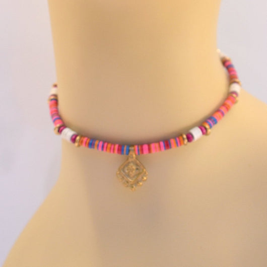 Pink and Red Beaded Choker with Brass Pendant