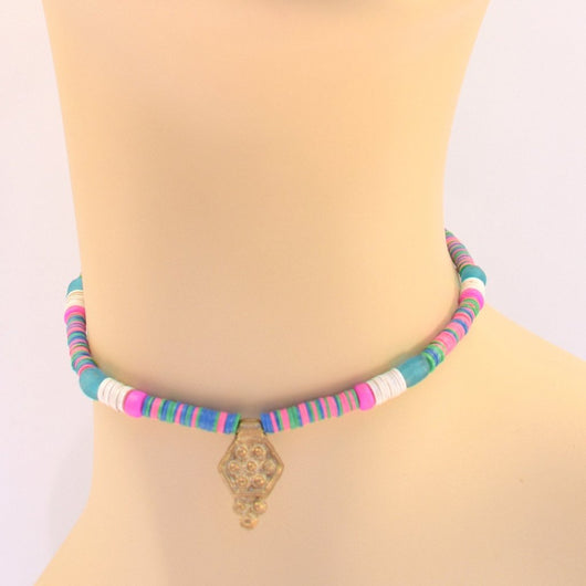 Teal, Blue, Pink, and White Beaded Choker with Pendant