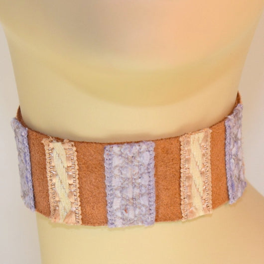 Brown, Cream and Purple Suede Choker