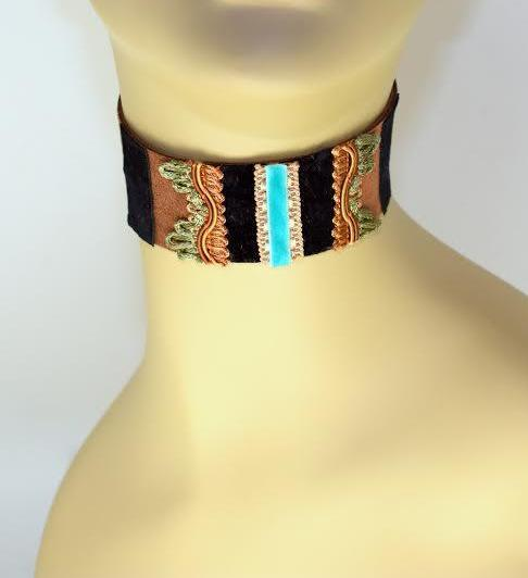Black, Brown and Blue Suede Choker
