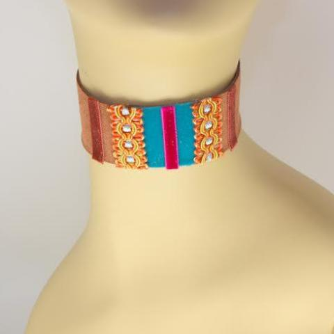 Brown, Blue and Pink Suede Choker