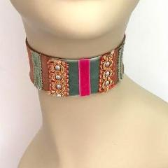 Chocolate Brown, Green and Pink Suede Choker