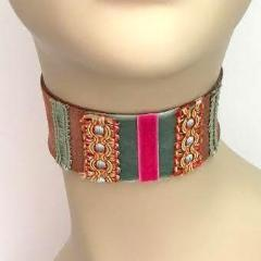 Brown, Green and Pink Suede Choker with Multi-Color Trim