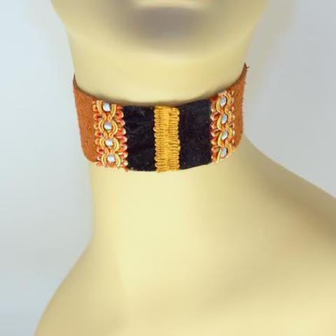 Brown, Black and Gold Suede Choker