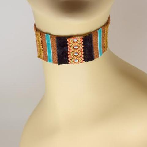 Light Brown, Black and Blue Suede Choker