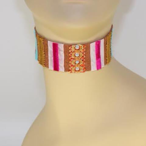 Light Brown and Pink Suede Choker