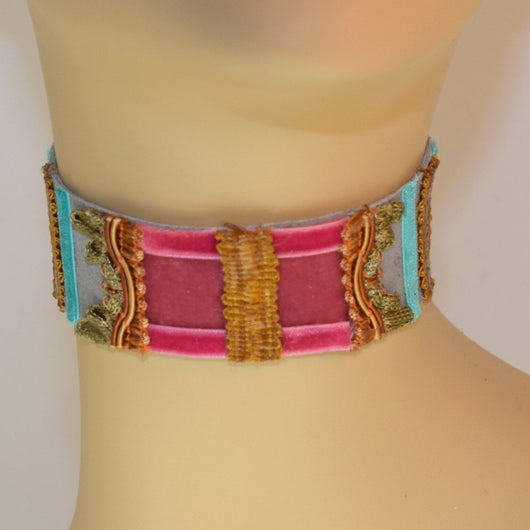 Gray, Pink and Blue Suede Choker