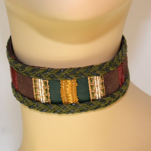 Chocolate Brown and Green Suede Choker with Braid Trim