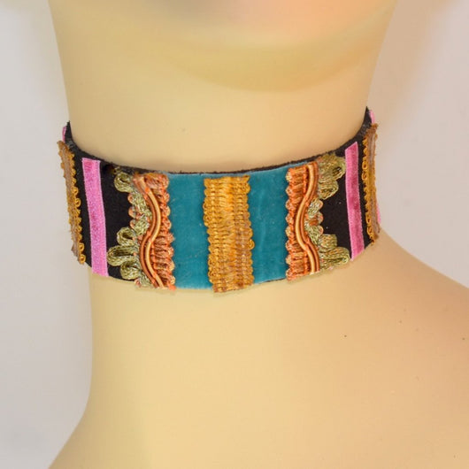 Black, Blue and Pink  Suede Choker with Gold Center