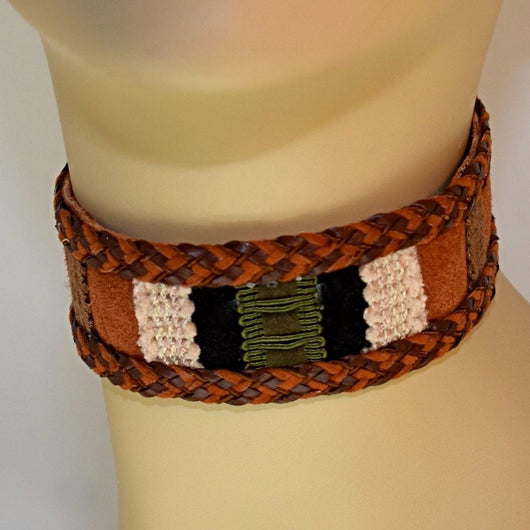 Brown, Black, Cream and Green Suede Choker with Braid Trim