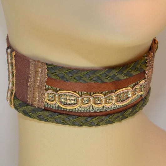 Brown and Green Leather Choker with Braid Trim