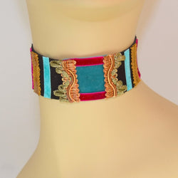 Black, Blue and Hot Pink Suede Choker