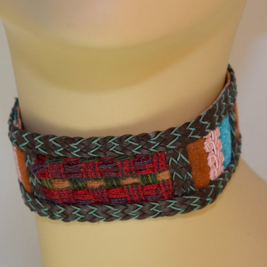 Brown, Red, Blue, Pink Suede Choker with Braid Trim